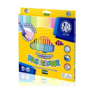 48 colours: Double-sided Astra Pastelowe pencils 24/48