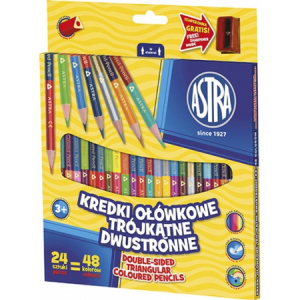 48 colours: Double-sided Astra pencils 24/48