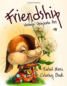 Friendship. Vintage Grayscale Art Coloring Book